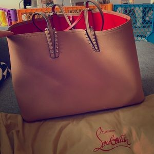 Christian Louboutin Cabata Leather Tote in Nude.